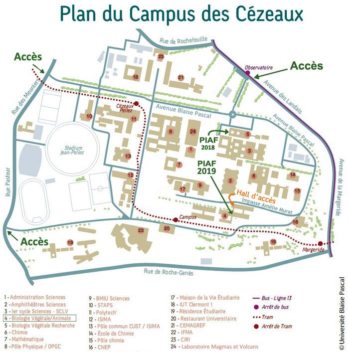 Position des nouveaux locaux du Piaf sur le plan du campus