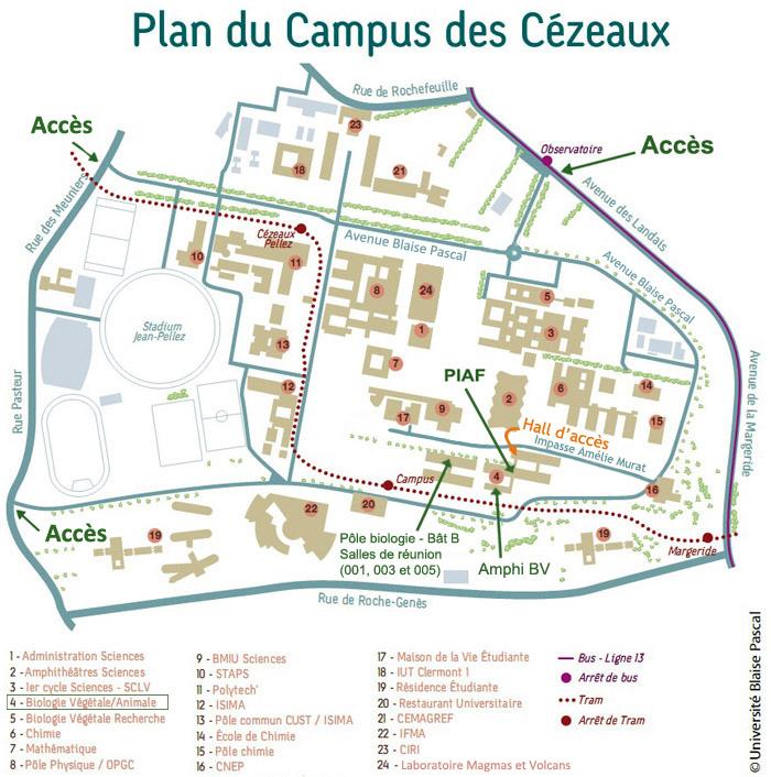 Position des locaux du Piaf sur le plan du campus