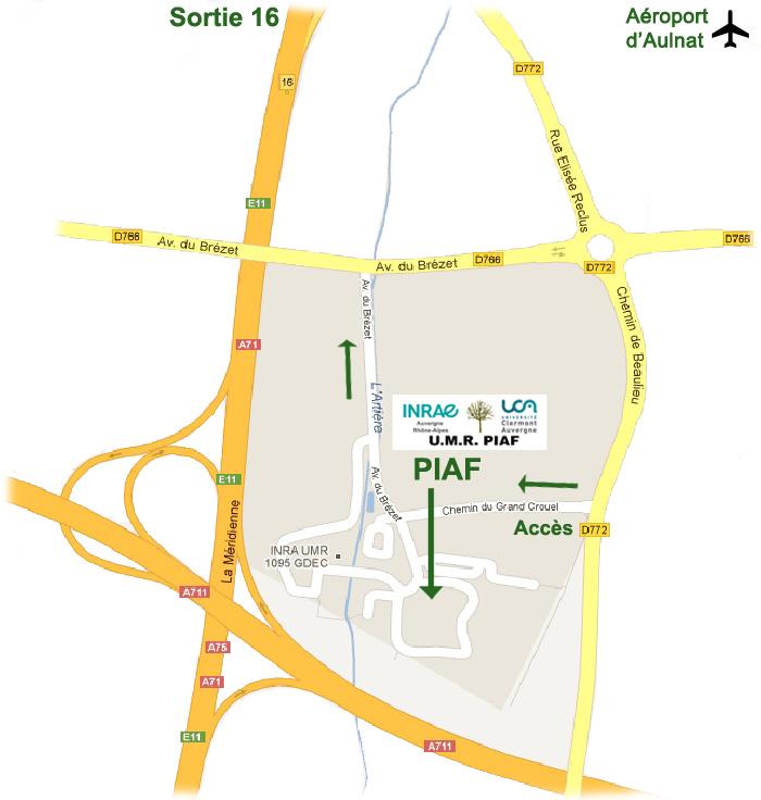Position du Piaf à l'INRAE (site de Crouel)