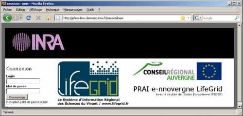 Page de nouvelle session interface web PFEM-LIMS